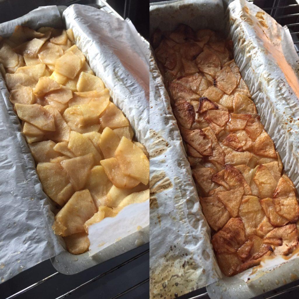 terrine aux pommes pendant la cuisson